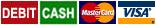 Debit, cash, MasterCard and VISA icons
