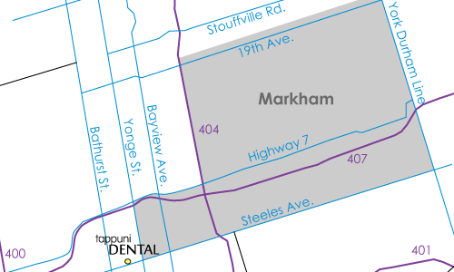 Markham map with dentist location