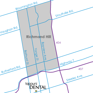 Richmond Hill map with dentist location