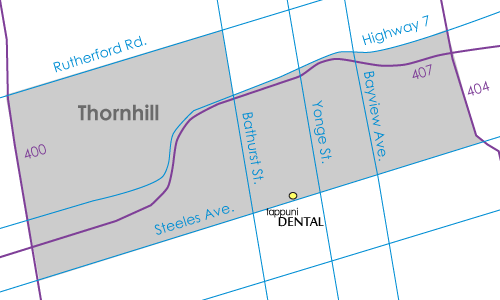 Thornhill map with dentist location