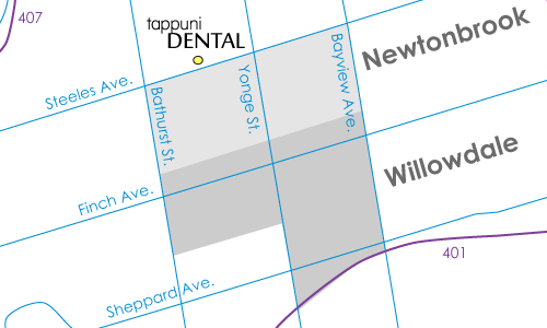 Willowdale/Newtonbrook map with dentist location